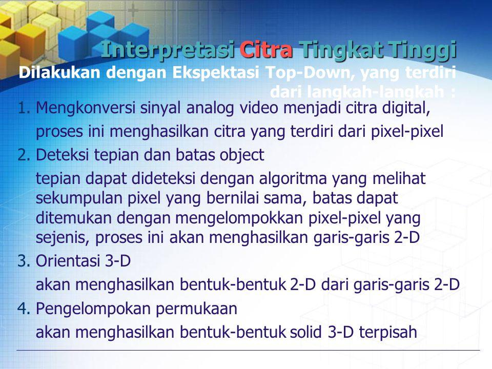 Interpretasi Citra Tingkat Tinggi Dilakukan dengan Ekspektasi Top-Down, yang terdiri dari langkah-langkah :