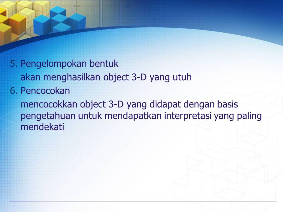 Pengelompokan bentuk akan menghasilkan object 3-D yang utuh. Pencocokan.