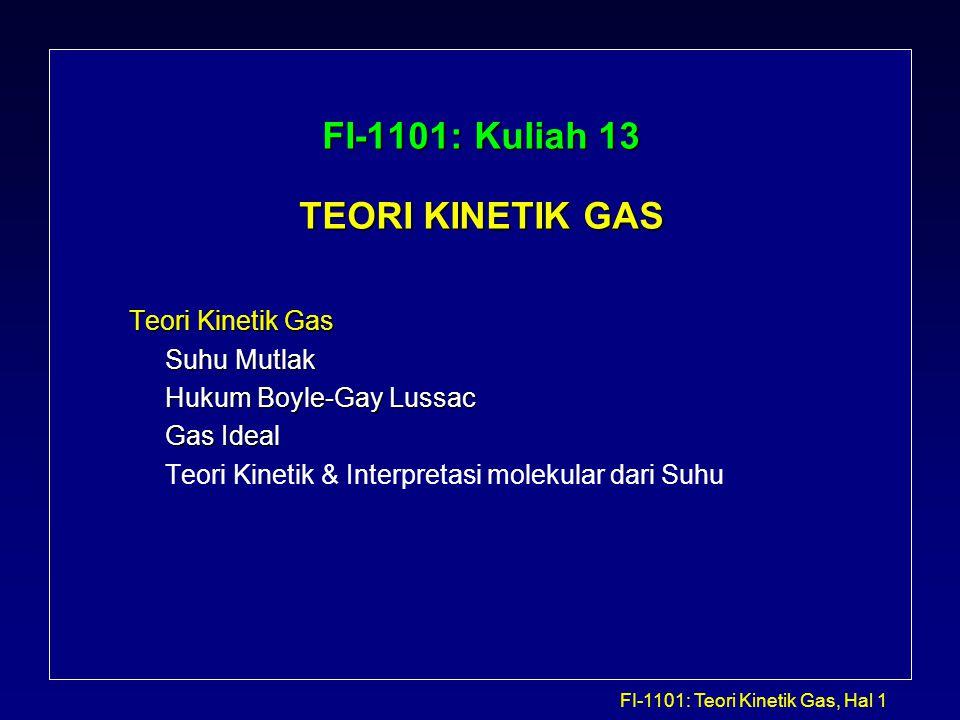 FI-1101: Kuliah 13 TEORI KINETIK GAS