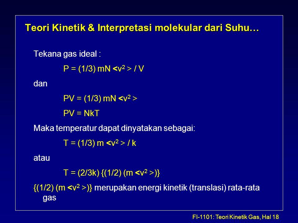 Teori Kinetik & Interpretasi molekular dari Suhu…
