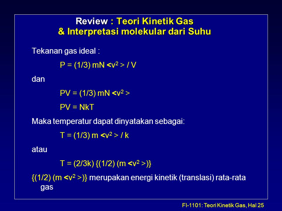 Review : Teori Kinetik Gas & Interpretasi molekular dari Suhu