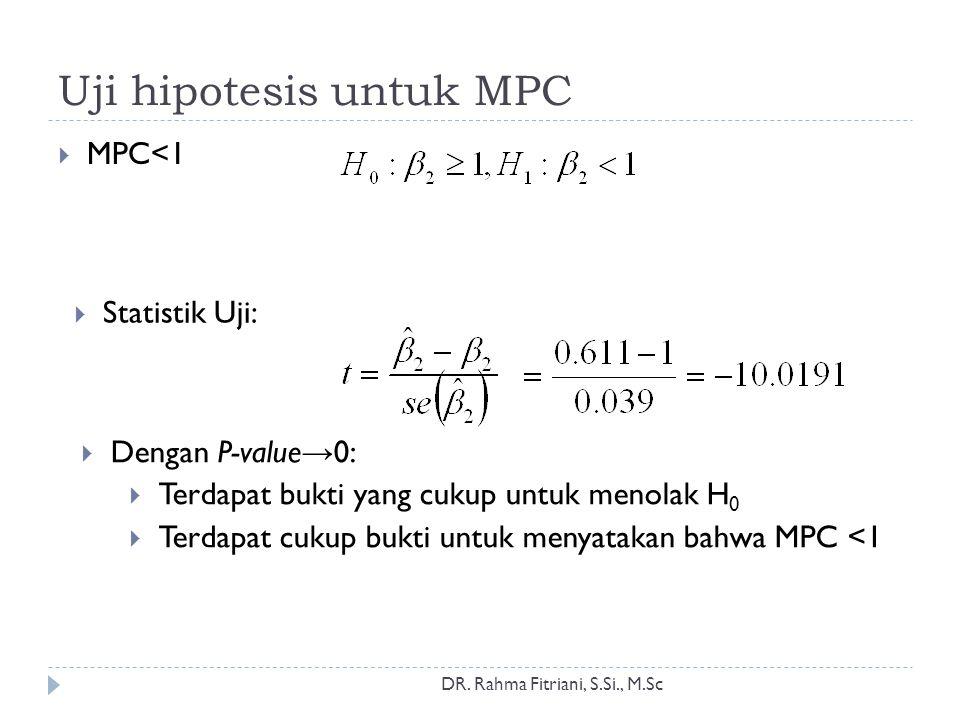 Uji hipotesis untuk MPC