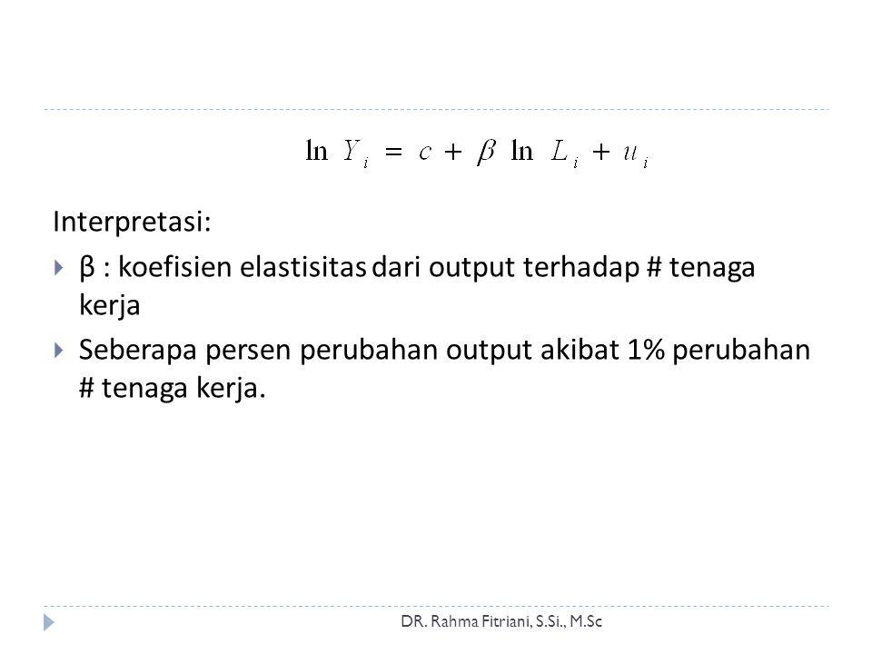 β : koefisien elastisitas dari output terhadap # tenaga kerja