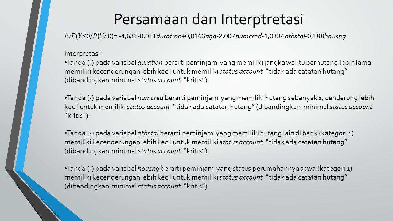 Persamaan dan Interptretasi