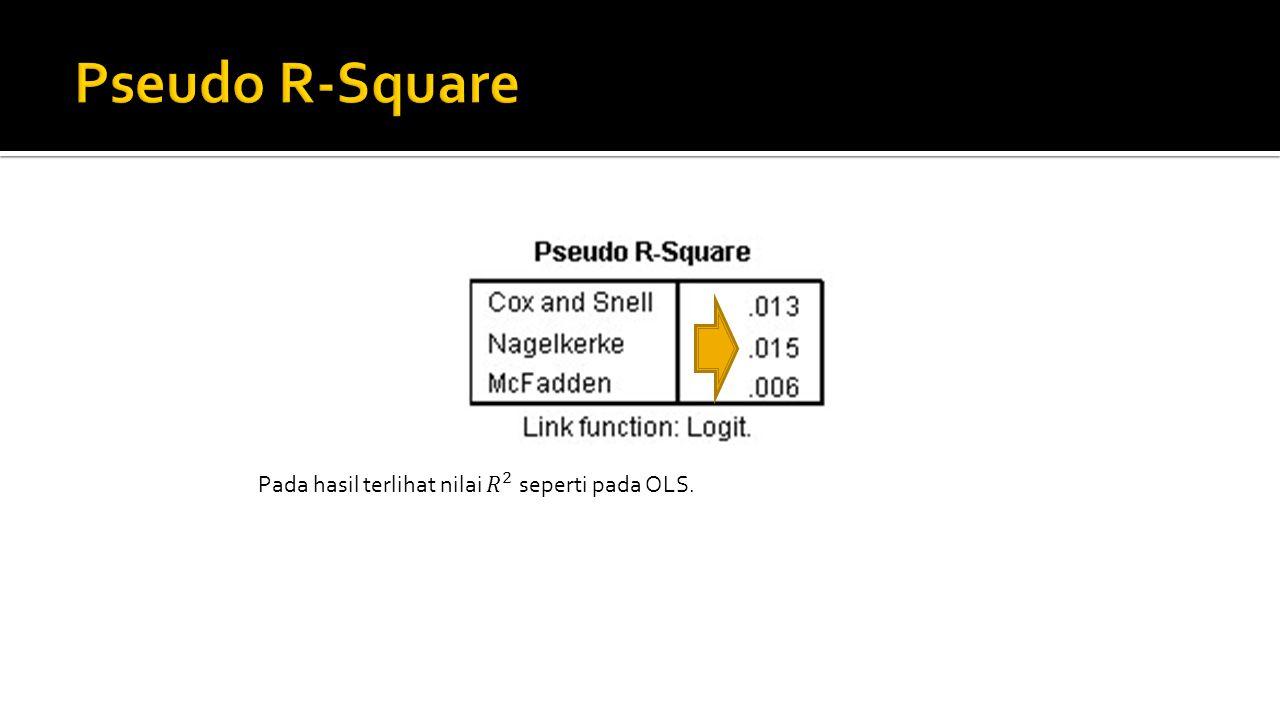 Pseudo R-Square Pada hasil terlihat nilai 𝑅 2 seperti pada OLS.