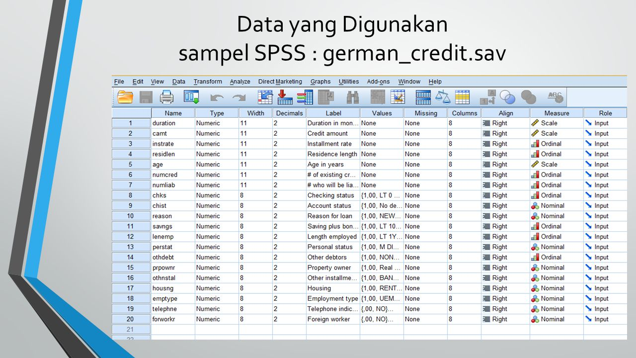 Data yang Digunakan sampel SPSS : german_credit.sav