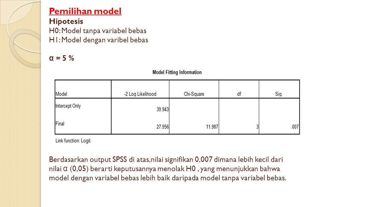 Pemilihan model Hipotesis H0: Model tanpa variabel bebas H1: Model dengan varibel bebas α = 5 % Berdasarkan output SPSS di atas,nilai signifikan 0,007 dimana lebih kecil dari nilai α (0,05) berarti keputusannya menolak H0 , yang menunjukkan bahwa model dengan variabel bebas lebih baik daripada model tanpa variabel bebas.