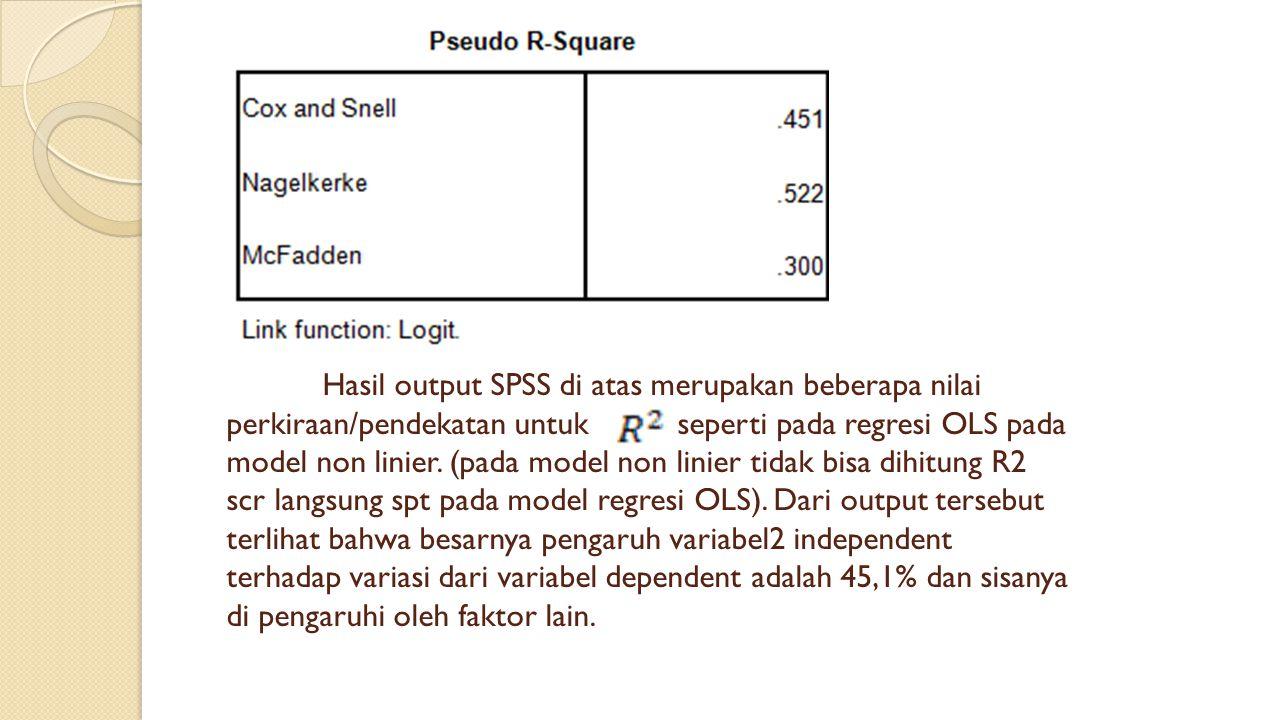 Hasil output SPSS di atas merupakan beberapa nilai perkiraan/pendekatan untuk seperti pada regresi OLS pada model non linier.