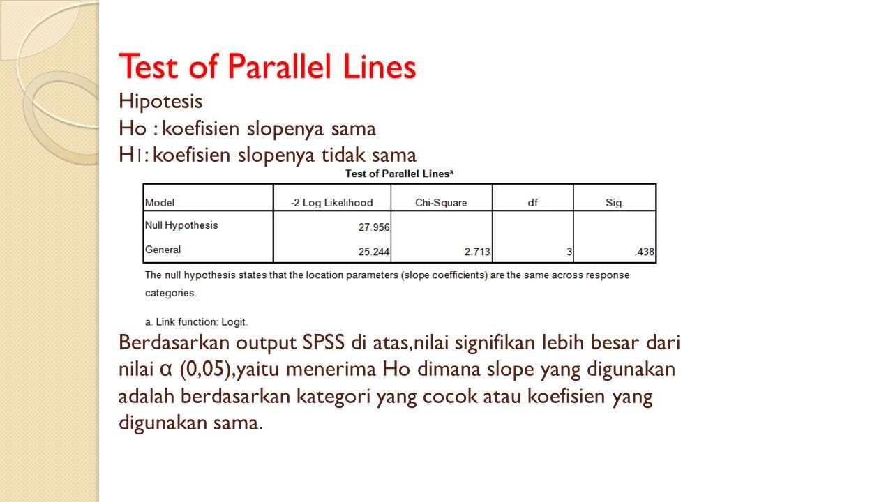 Test of Parallel Lines Hipotesis Ho : koefisien slopenya sama H1: koefisien slopenya tidak sama Berdasarkan output SPSS di atas,nilai signifikan lebih besar dari nilai α (0,05),yaitu menerima Ho dimana slope yang digunakan adalah berdasarkan kategori yang cocok atau koefisien yang digunakan sama.
