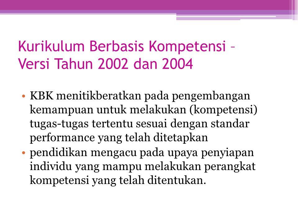 Kurikulum Berbasis Kompetensi – Versi Tahun 2002 dan 2004