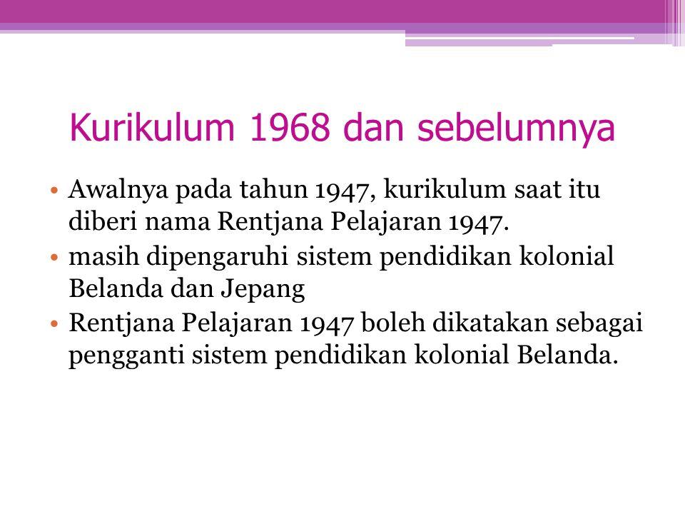 Kurikulum 1968 dan sebelumnya