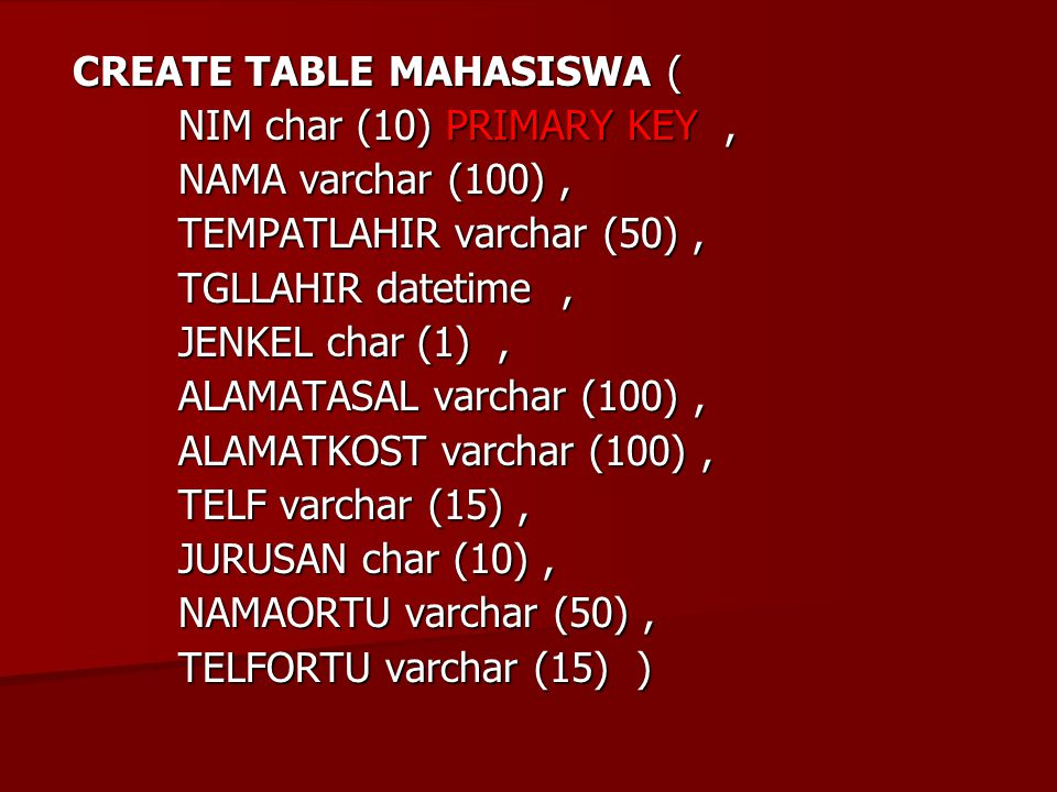 CREATE TABLE MAHASISWA (