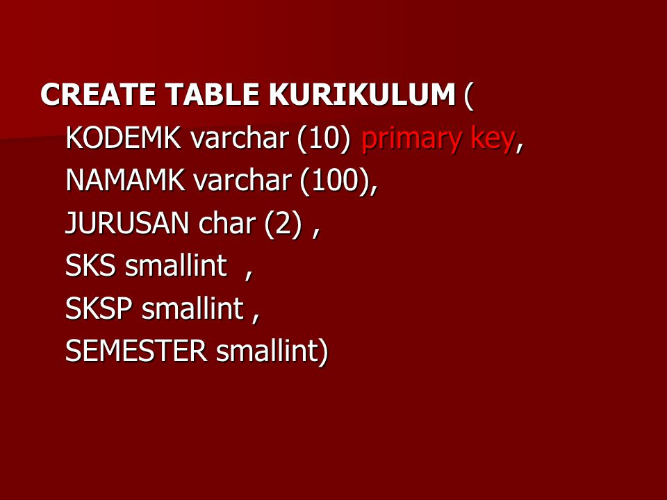 CREATE TABLE KURIKULUM (