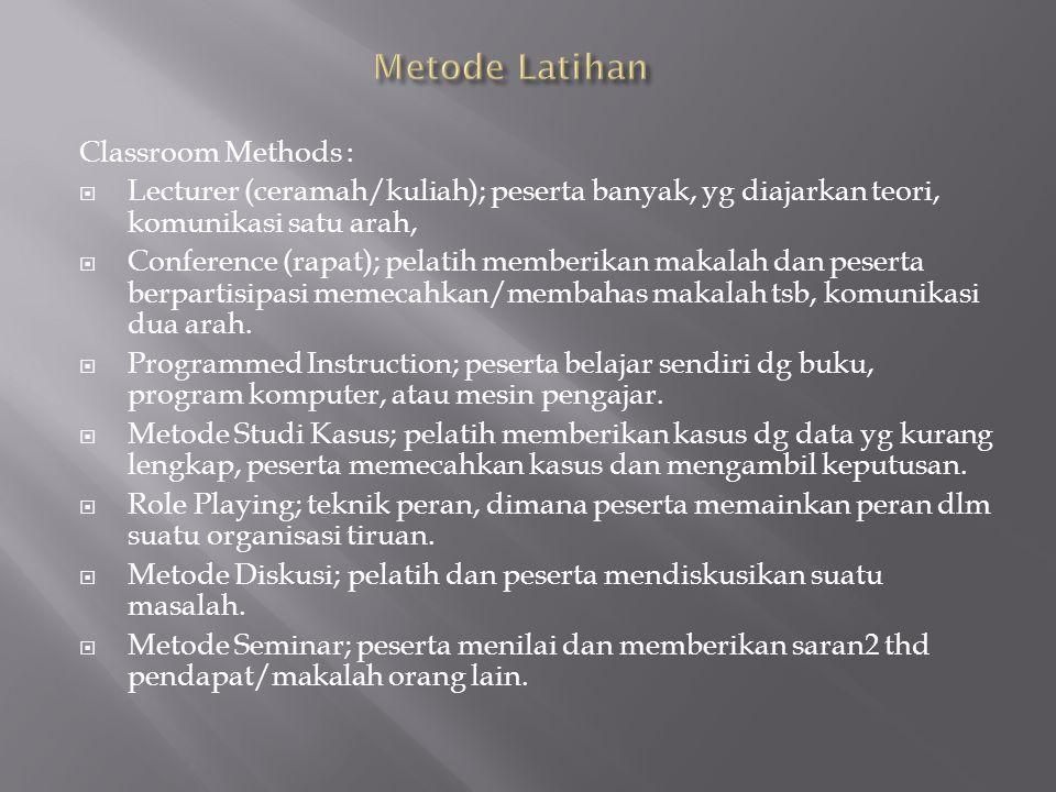 Metode Latihan Classroom Methods :