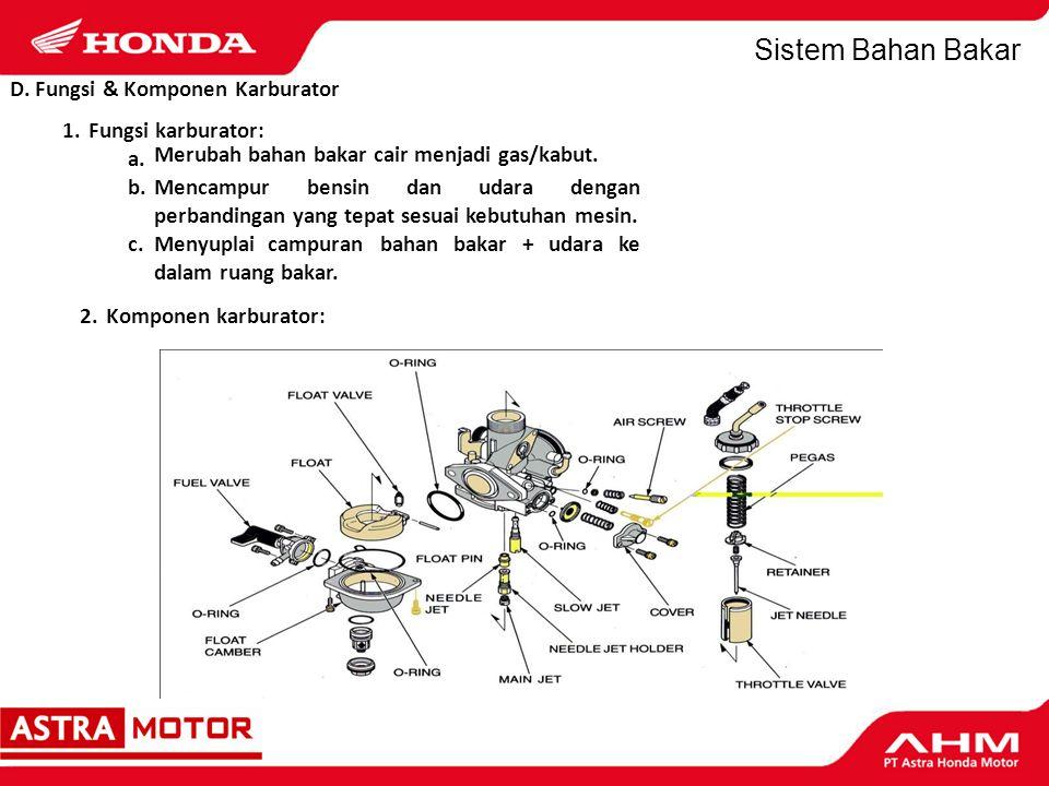 D. Fungsi & Komponen Karburator 1. Fungsi karburator: a. b.