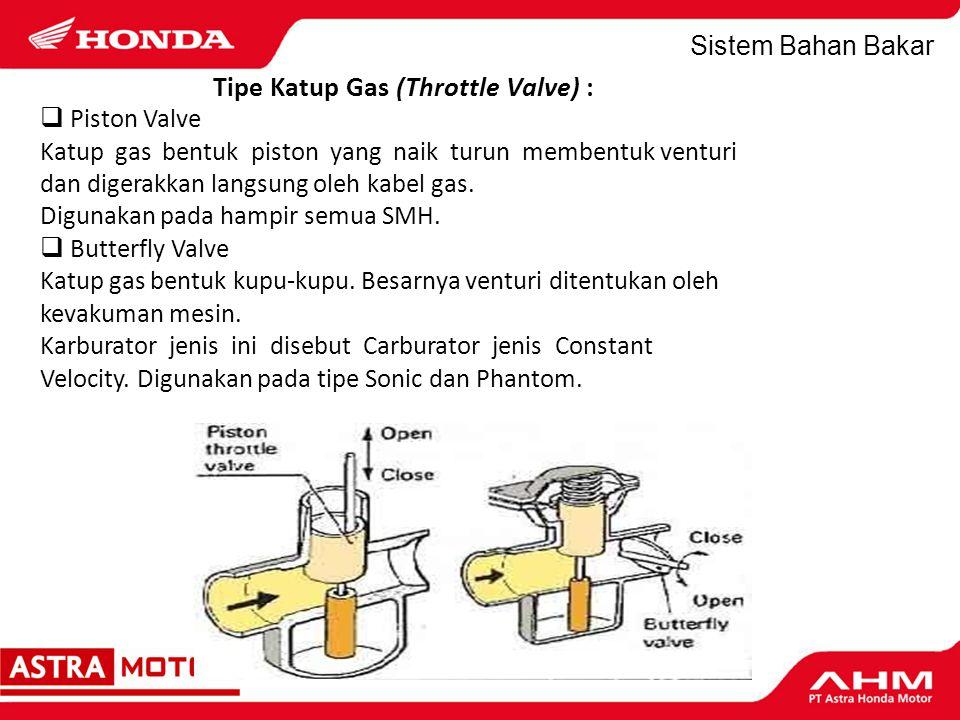 Tipe Katup Gas (Throttle Valve) :