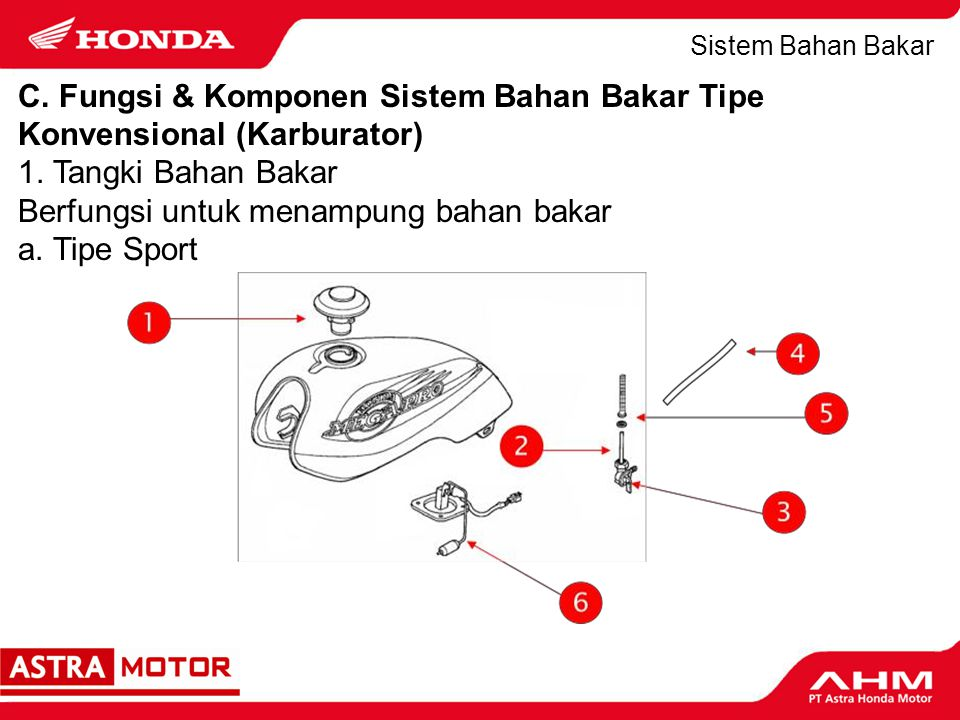 C. Fungsi & Komponen Sistem Bahan Bakar Tipe Konvensional (Karburator)