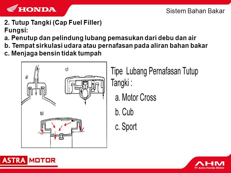 Sistem Bahan Bakar 2. Tutup Tangki (Cap Fuel Filler) Fungsi: a. Penutup dan pelindung lubang pemasukan dari debu dan air.