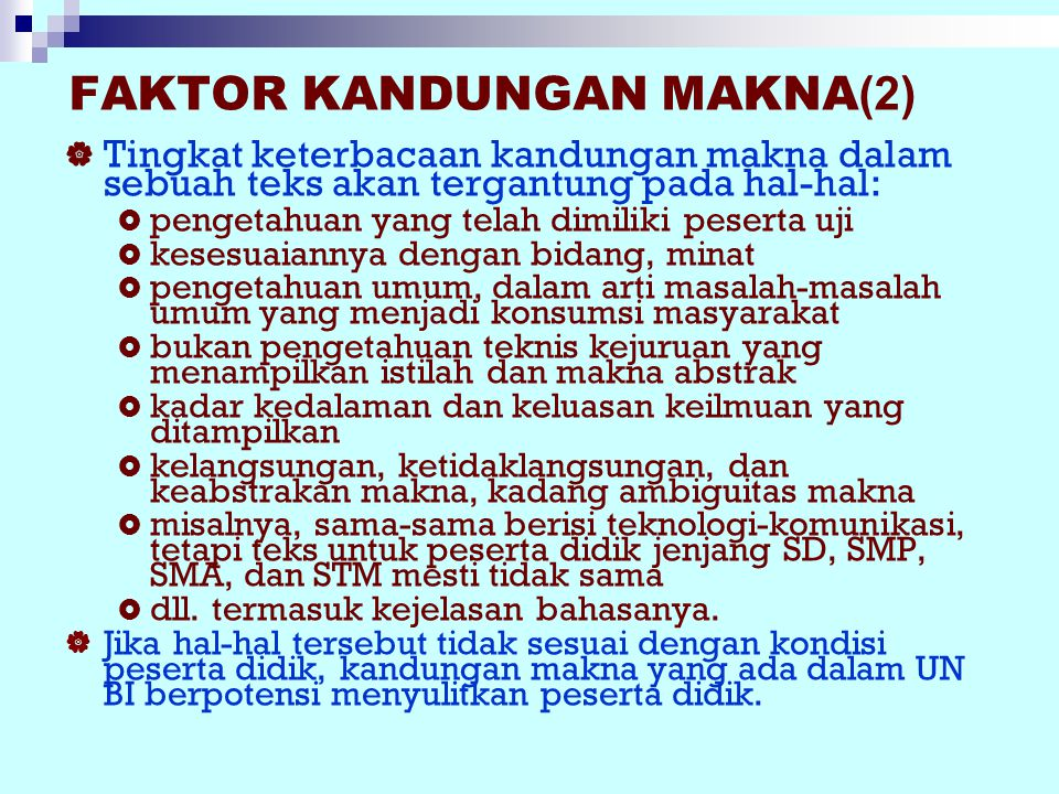 FAKTOR KANDUNGAN MAKNA(2)