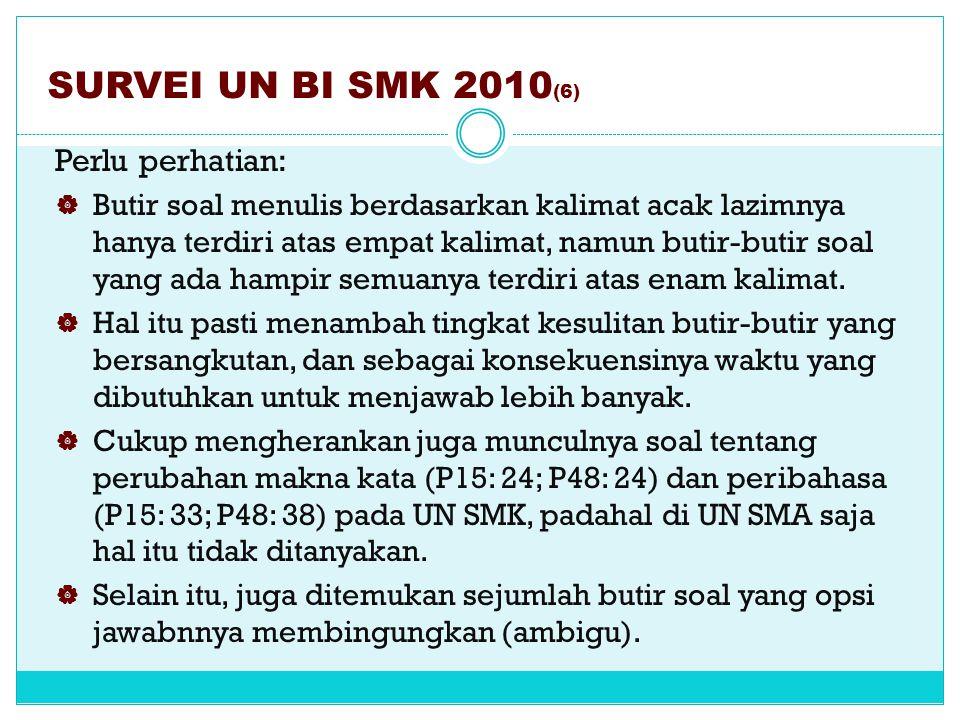 SURVEI UN BI SMK 2010(6) Perlu perhatian: