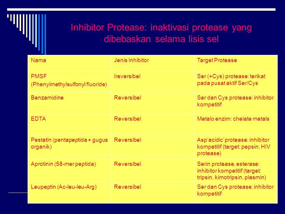 Inhibitor Protease: inaktivasi protease yang dibebaskan selama lisis sel