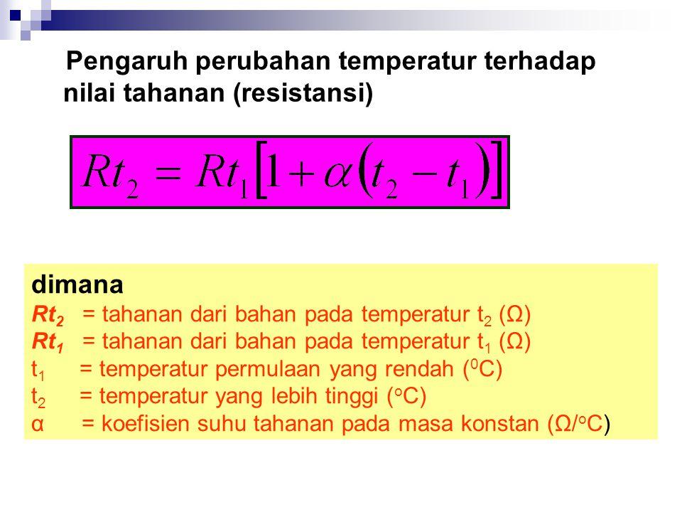 Pengaruh perubahan temperatur terhadap nilai tahanan (resistansi)