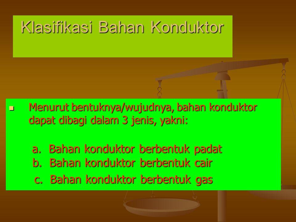Klasifikasi Bahan Konduktor