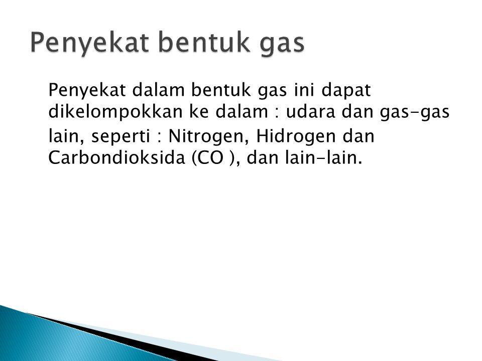 Penyekat bentuk gas Penyekat dalam bentuk gas ini dapat dikelompokkan ke dalam : udara dan gas-gas.