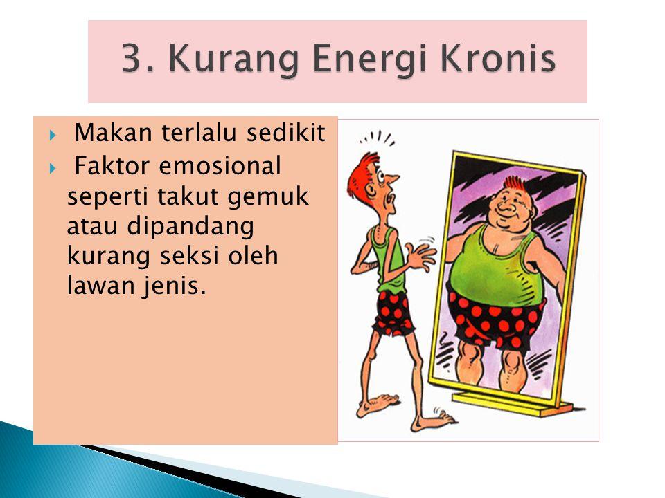 3. Kurang Energi Kronis Makan terlalu sedikit