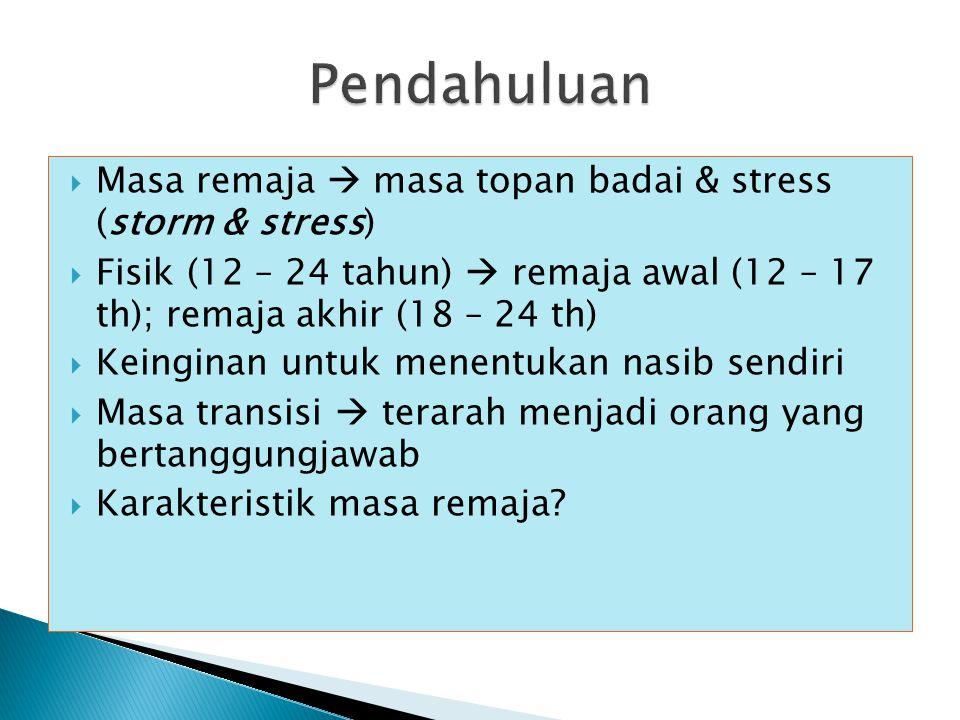 Pendahuluan Masa remaja  masa topan badai & stress (storm & stress)