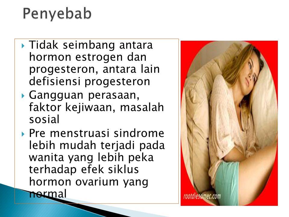 Penyebab Tidak seimbang antara hormon estrogen dan progesteron, antara lain defisiensi progesteron.