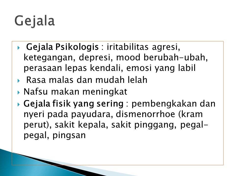 Gejala Gejala Psikologis : iritabilitas agresi, ketegangan, depresi, mood berubah-ubah, perasaan lepas kendali, emosi yang labil.