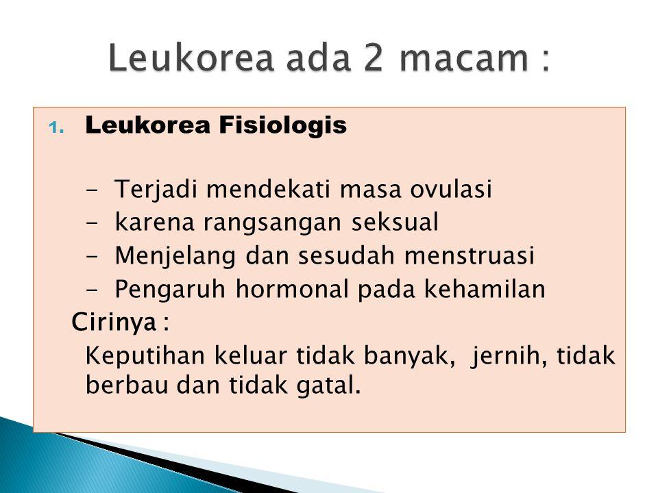 Leukorea ada 2 macam : Leukorea Fisiologis