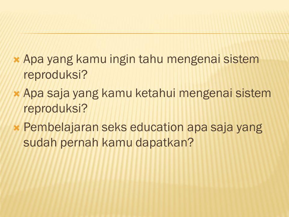 Apa yang kamu ingin tahu mengenai sistem reproduksi
