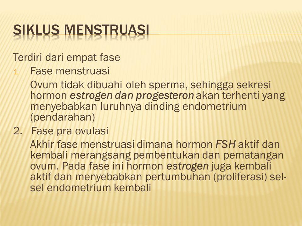 Siklus menstruasi Terdiri dari empat fase Fase menstruasi