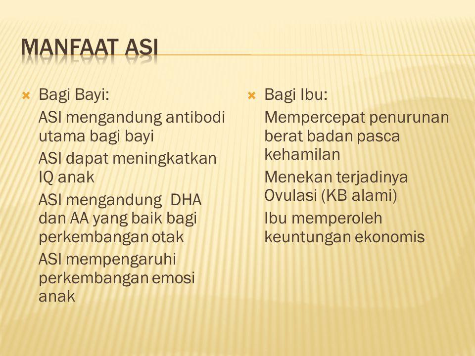 Manfaat ASI Bagi Bayi: ASI mengandung antibodi utama bagi bayi