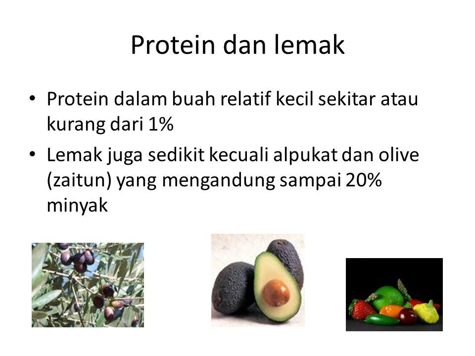 Protein dan lemak Protein dalam buah relatif kecil sekitar atau kurang dari 1%