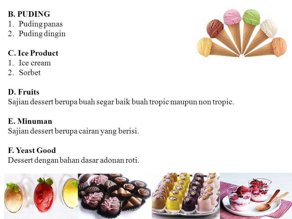 B. PUDING Puding panas. Puding dingin. C. Ice Product. Ice cream. Sorbet. D. Fruits.