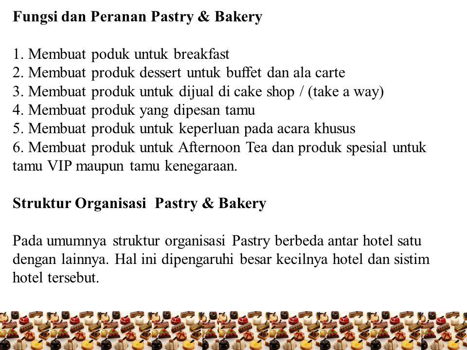 Fungsi dan Peranan Pastry & Bakery 1. Membuat poduk untuk breakfast 2