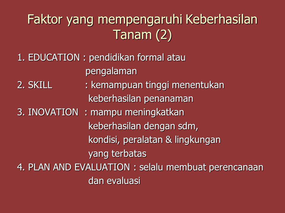 Faktor yang mempengaruhi Keberhasilan Tanam (2)
