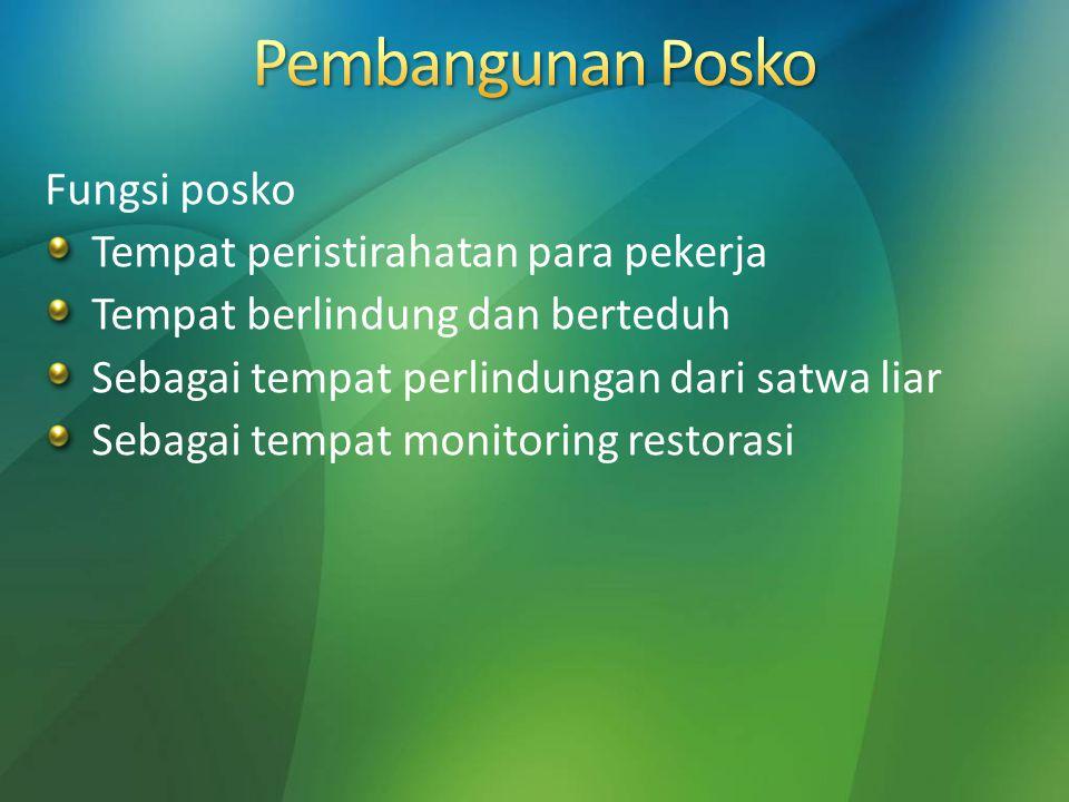 Pembangunan Posko Fungsi posko Tempat peristirahatan para pekerja