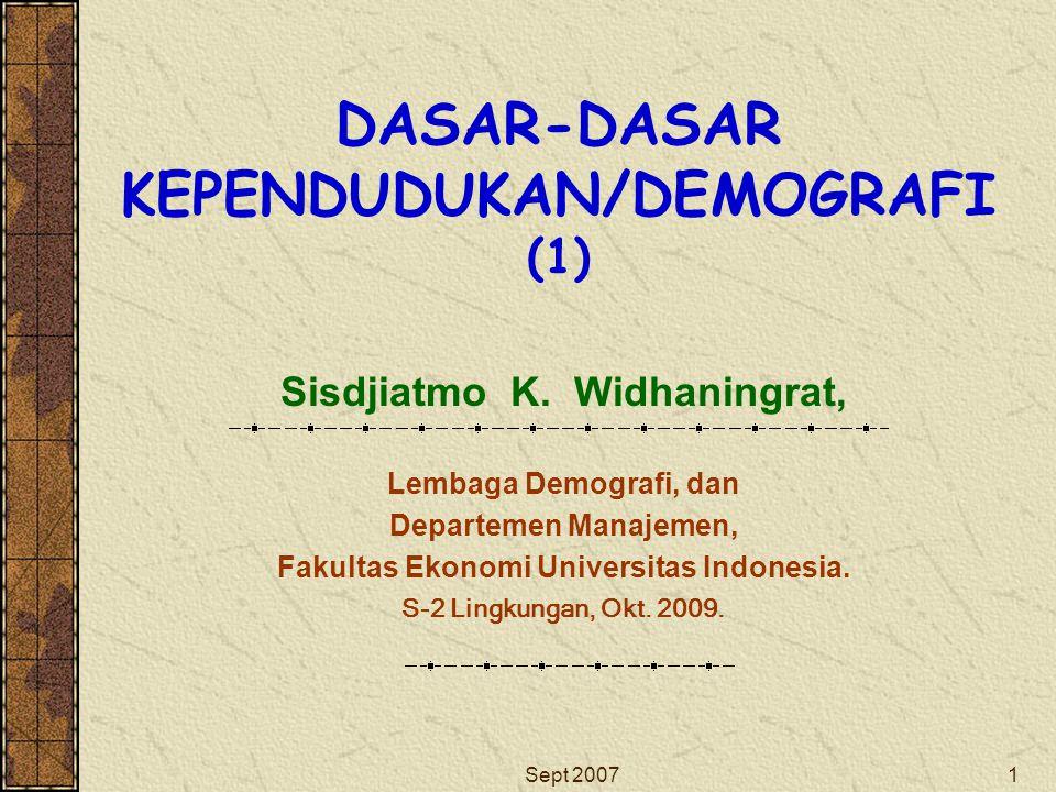 DASAR-DASAR KEPENDUDUKAN/DEMOGRAFI (1)