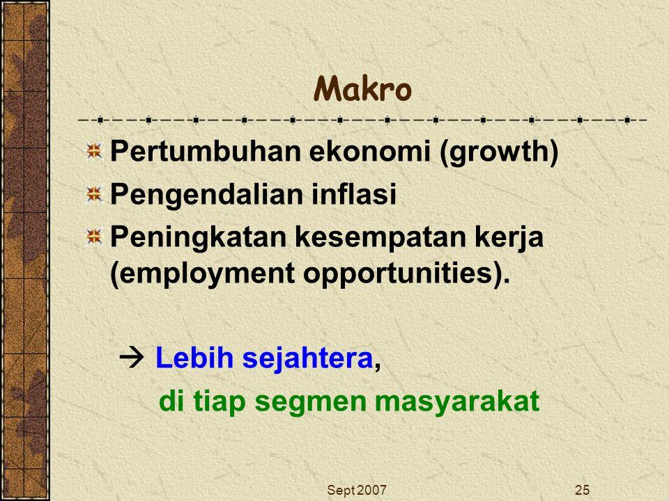 Makro Pertumbuhan ekonomi (growth) Pengendalian inflasi
