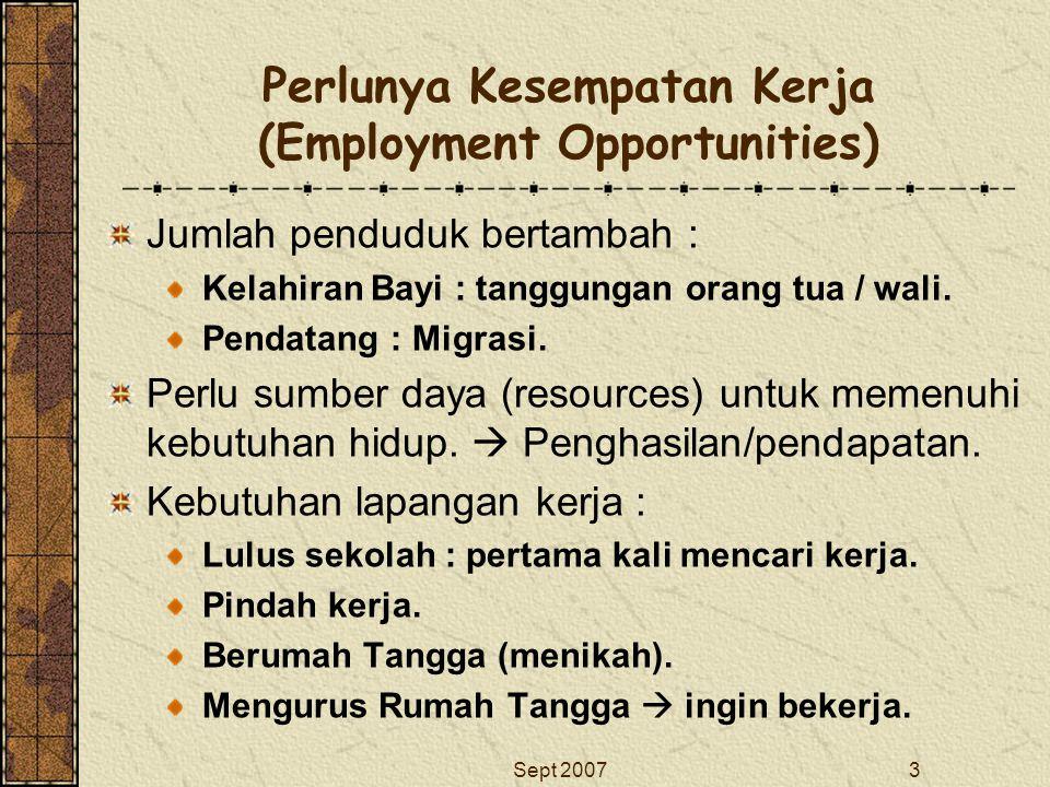 Perlunya Kesempatan Kerja (Employment Opportunities)