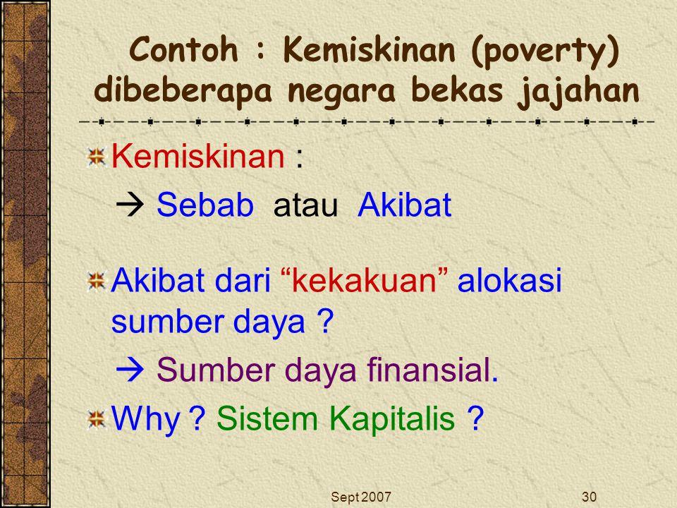 Contoh : Kemiskinan (poverty) dibeberapa negara bekas jajahan
