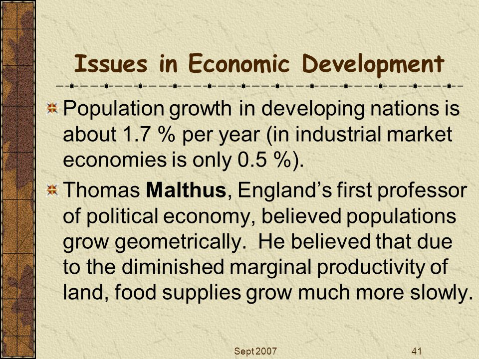 Issues in Economic Development