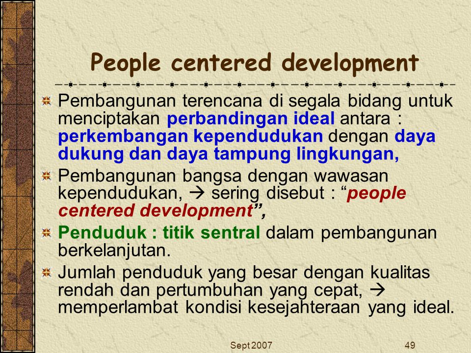 People centered development