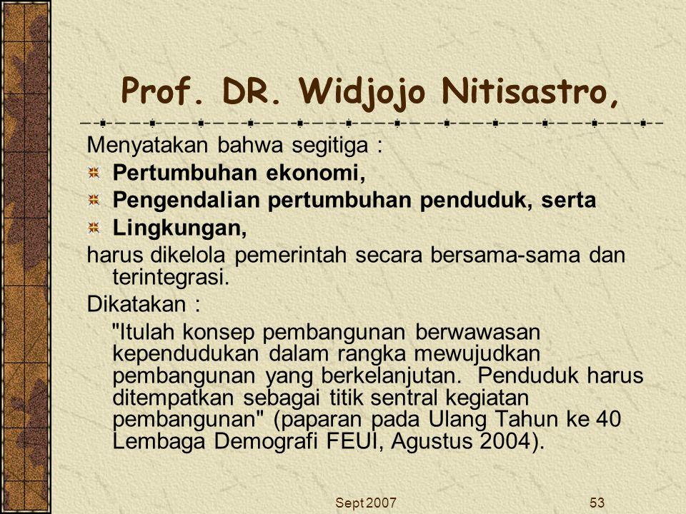 Prof. DR. Widjojo Nitisastro,