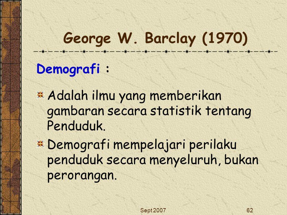 George W. Barclay (1970) Demografi :