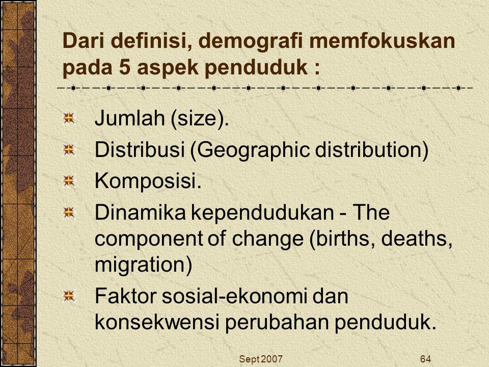 Dari definisi, demografi memfokuskan pada 5 aspek penduduk :
